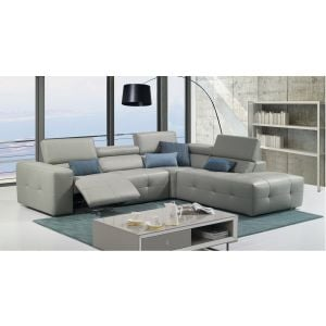 J&M S300 Sectional Sofa in Gray Premium Leather ( right or left facing chaise )