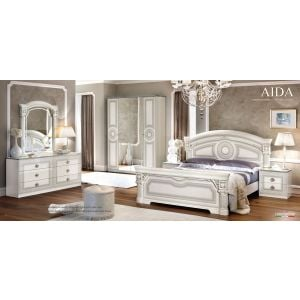 Aida Bedroom Collection in White and Silver Finish