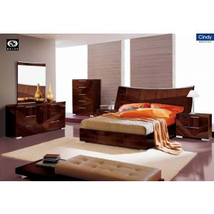 Cindy Bedroom Set Collection in Walnut finish by Alf Group