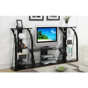 14521 TV Stand & Media Shelf In Tempered Glass