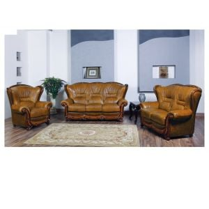 100 Living Room Set in Brown Leather