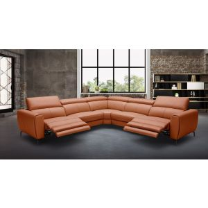 Power Motion Lorenzo Sectional Sofa in Rust Leather with 2 Recliners
