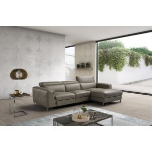 Brown Leather Magic Sectional Sofa in Left or Right Facing Chaise