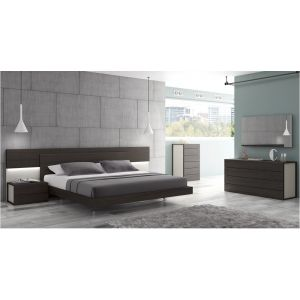 Maia Bedroom Set in Wenge with Light Gray