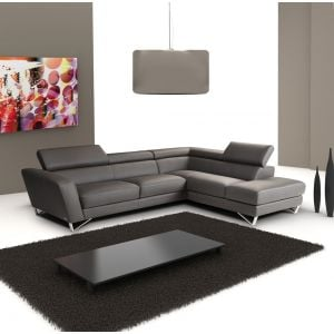 Sparta Sectional in Top Grain Gray Leather