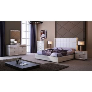 Paris Bedroom Set in Light Beige Lacquer Glossy Finish.  Both King size and Queen Size Beds has Upholstered Headboards in matching color Leather.  Casegoods in Glossy Lacquered Finish