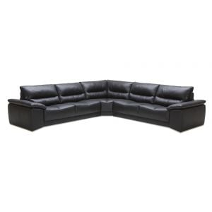 Romeo Sectional Sofa in Black Leather
