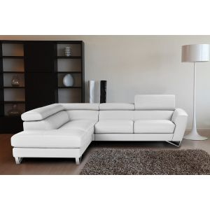 Sparta Sectional Sofa in White Leather