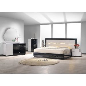 Turin Bedroom Set in Black and Gray Glossy Finish. Headboard has LED lights